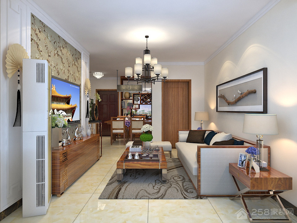影山府邸94平二居室新中式风格装修效果图