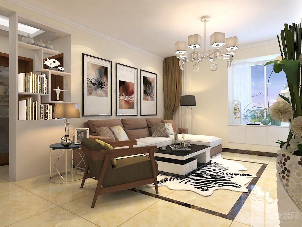 世茂原山首府122平三居室新中式风格装修效果图
