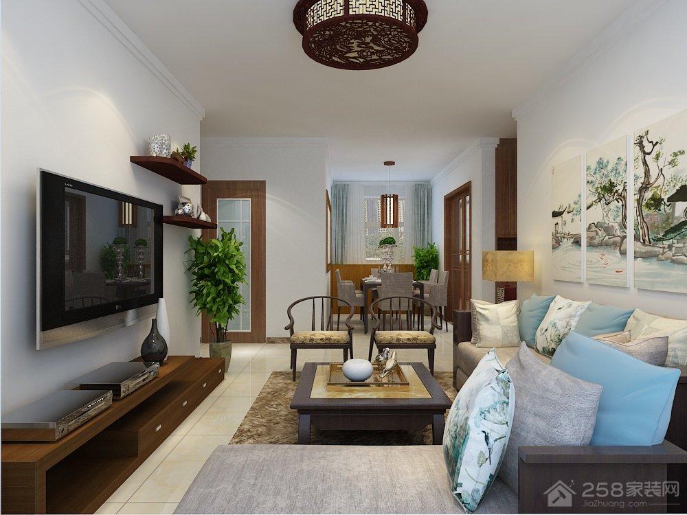 知山雅筑98平三居室中式风格装修效果图
