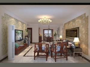 紫云府134平三居室中式风格装修效果图