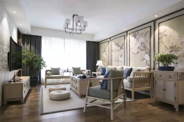 新苑小区 新中式风格三居家装效果图
