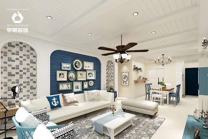 路劲城地中海风格两居室案例效果家装效果图