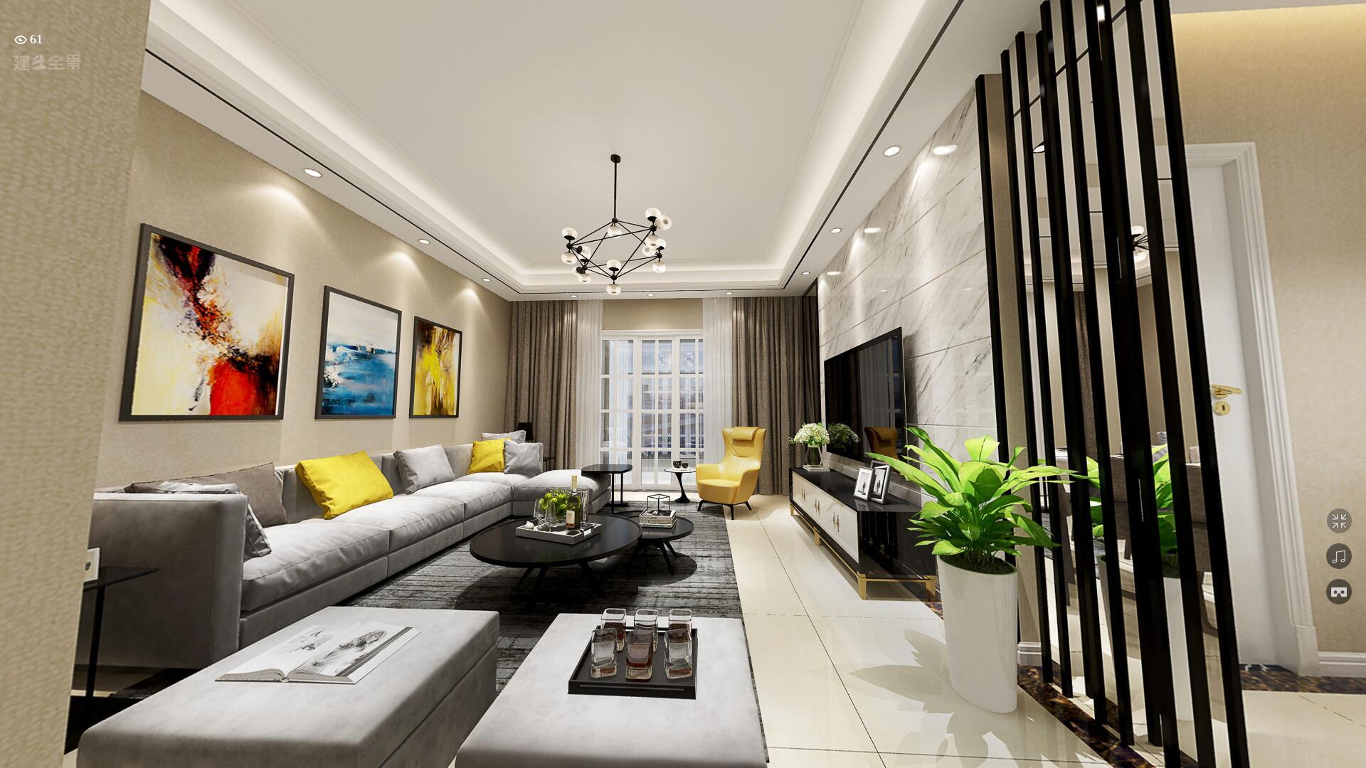 联泰天悦现代风格二居装修效果图