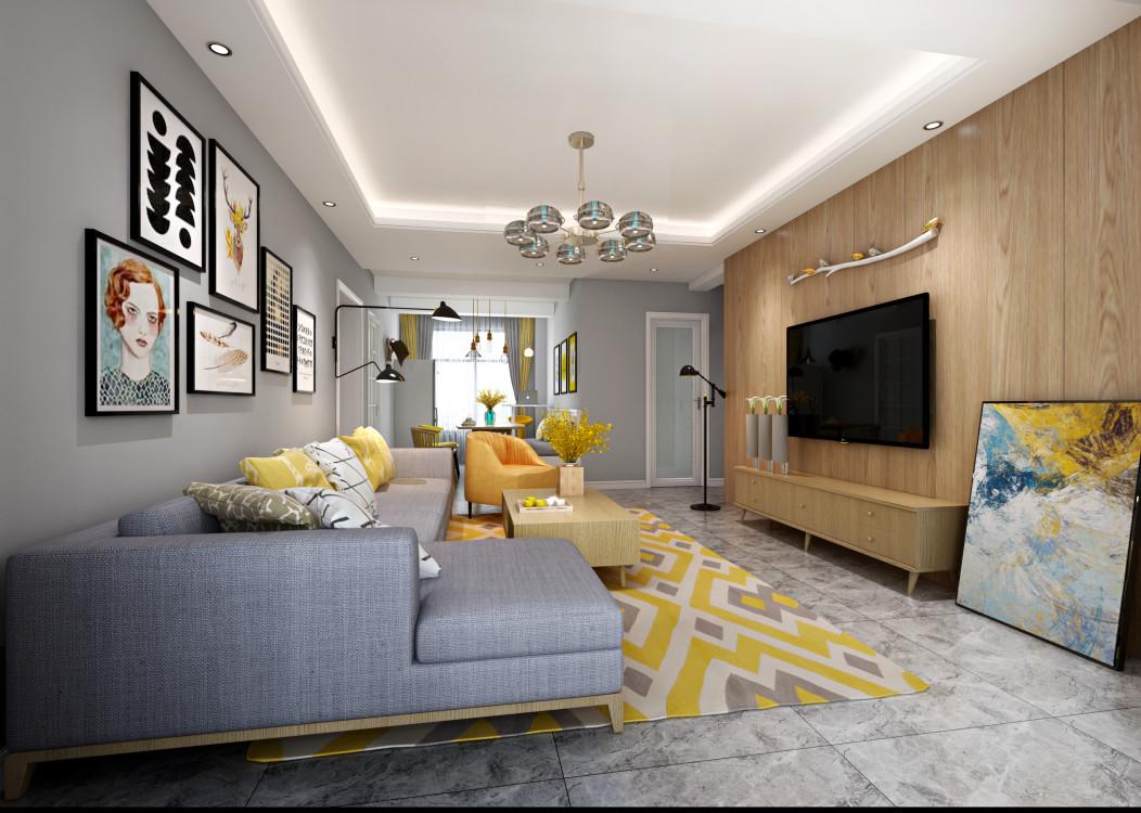 保利金香槟现代风格二居装修效果图