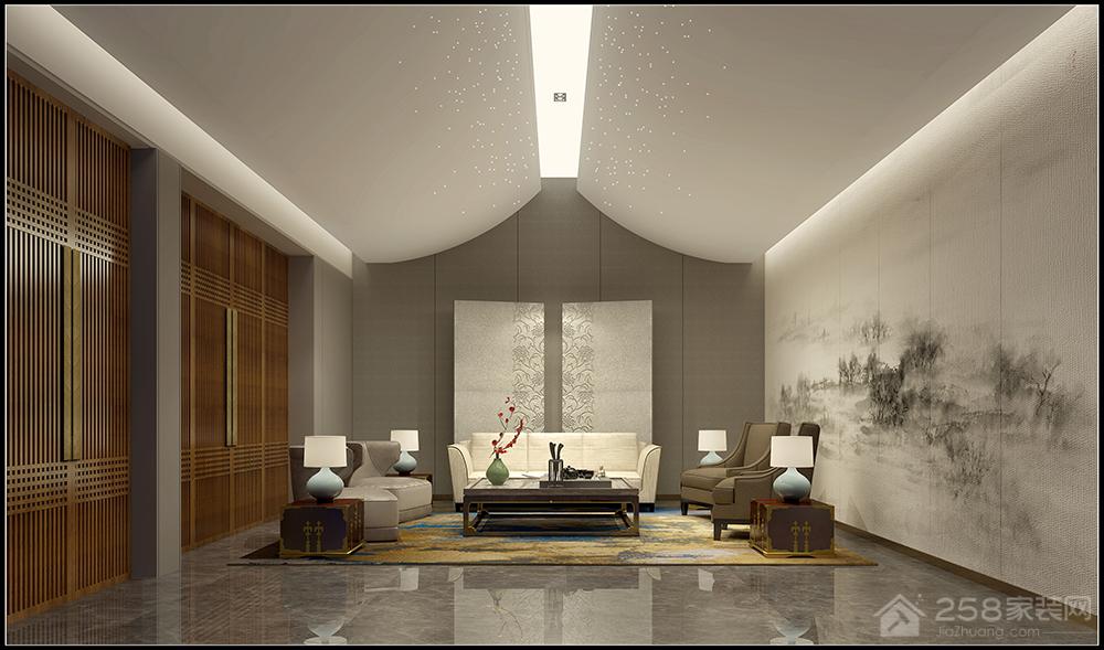 湘江世纪城新中式风格四居室装修效果
