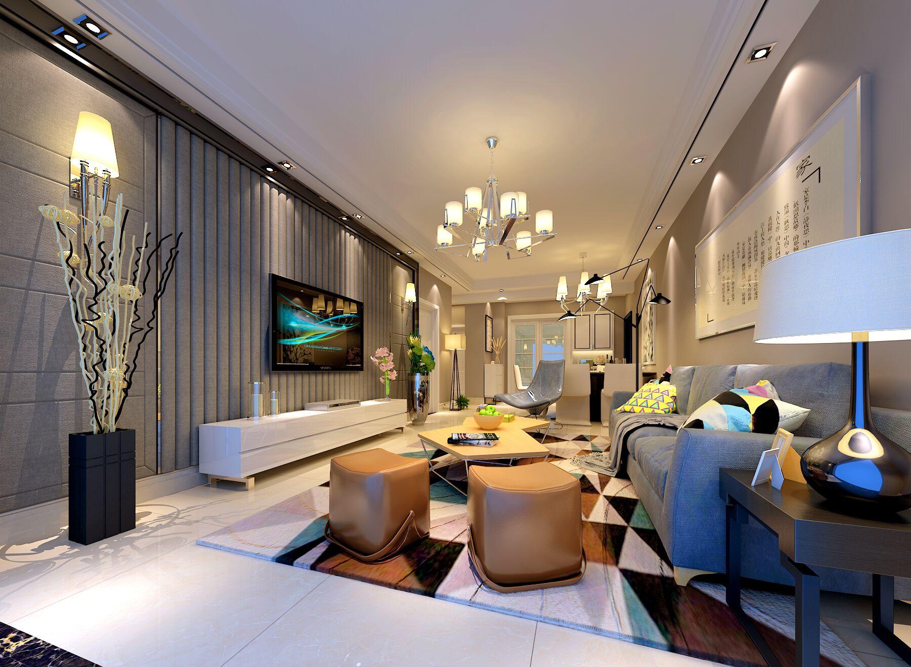 保利香槟国际花园现代简约二居装修效果图