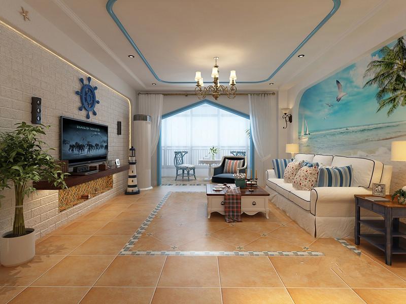 中海·凯旋门 地中海风格二居家装效果图