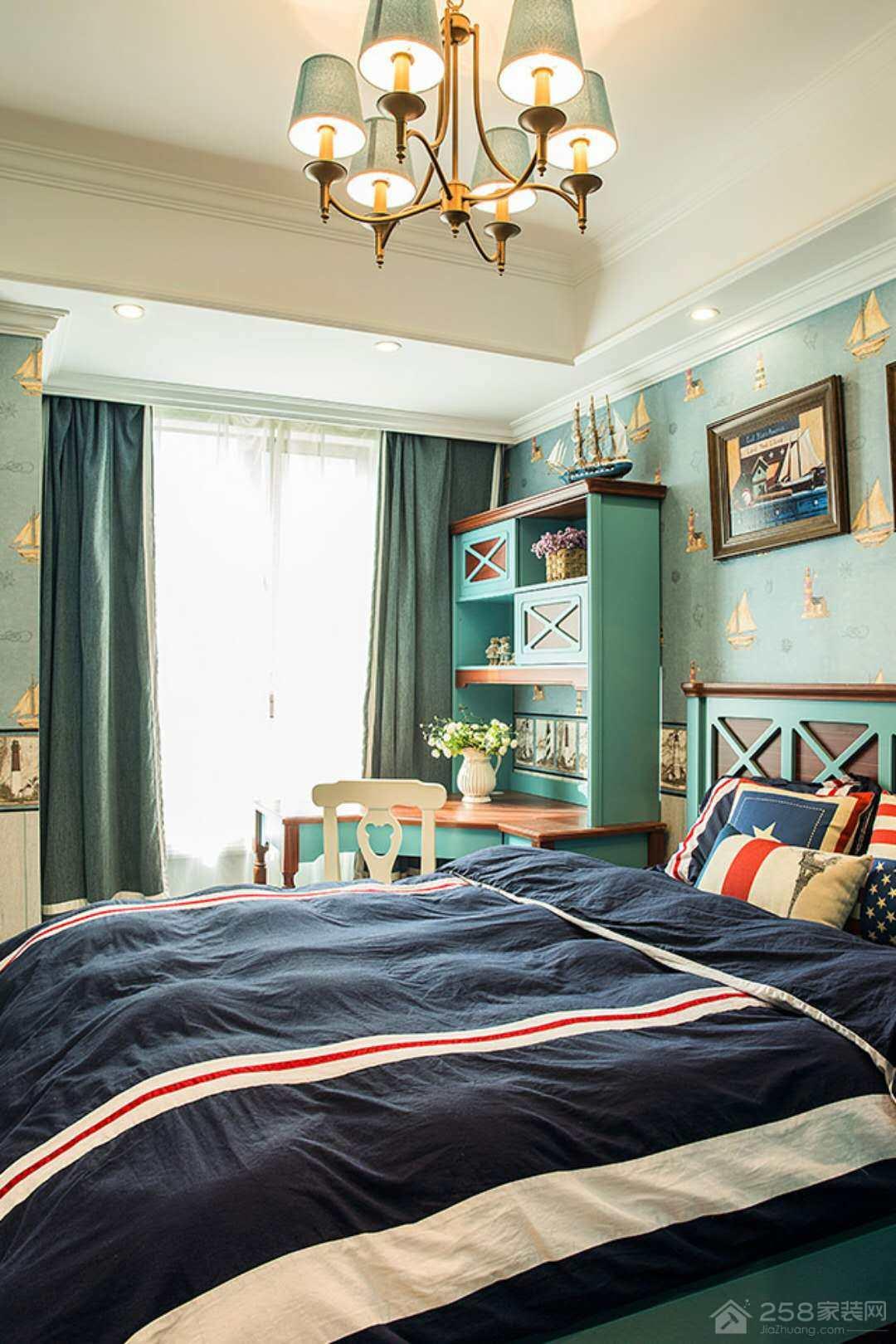高新区汉峪海风美式四居家装效果图