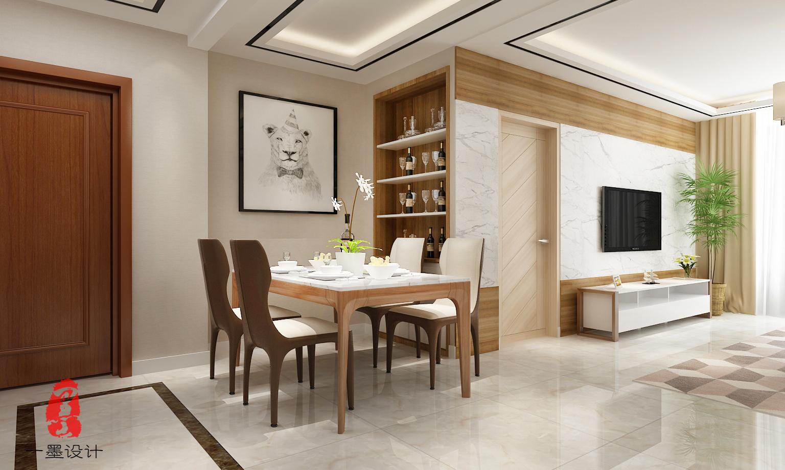 太湖明珠苑现代简约风格设计三居装修效果图