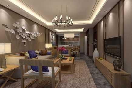 誉峰国际小区中式三居装修效果图