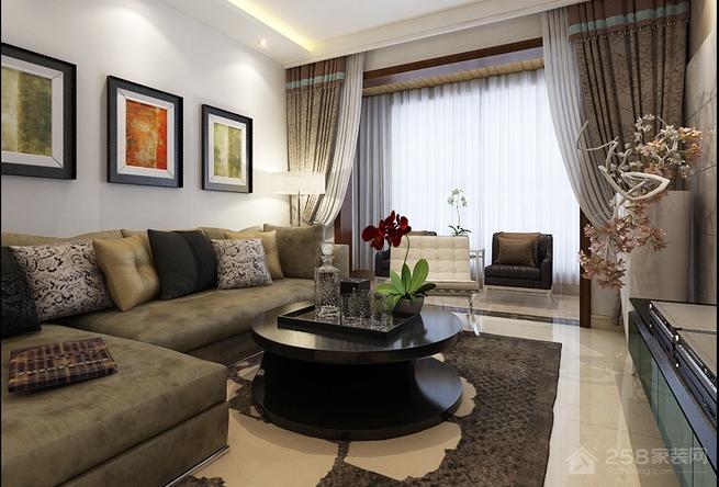 古典风格客厅黑色圆形茶几图片