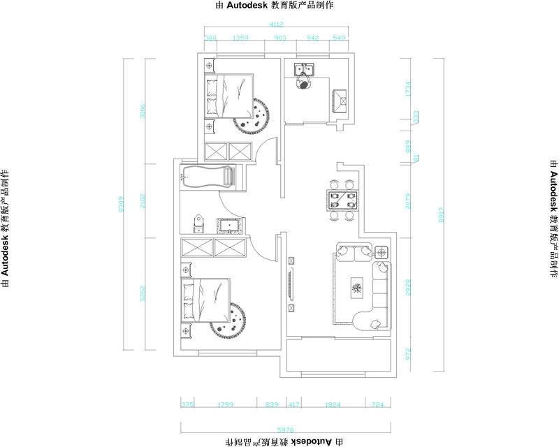 山居郦城74平新中式风格装修效果图