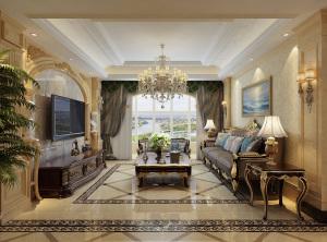 大秦左岸欧式风格三室两厅家装效果图