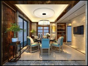 中海万景豪园7座301中式复式家装效果图