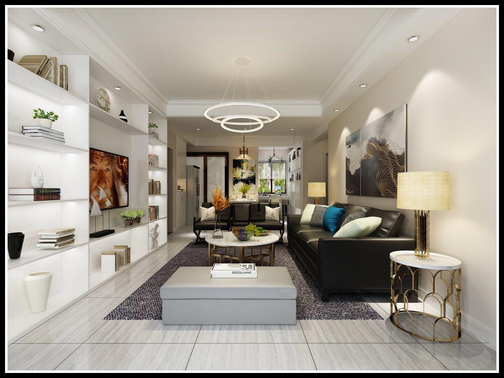 鑫居苑3房2厅1卫90平现代简约装修效果图