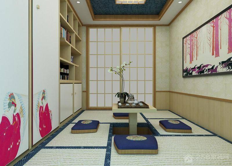 日式原木风升降茶几装修效果图