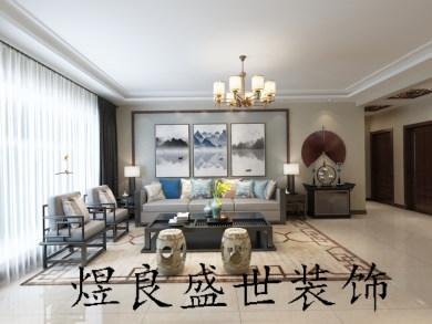 大港140中式三居装修效果图