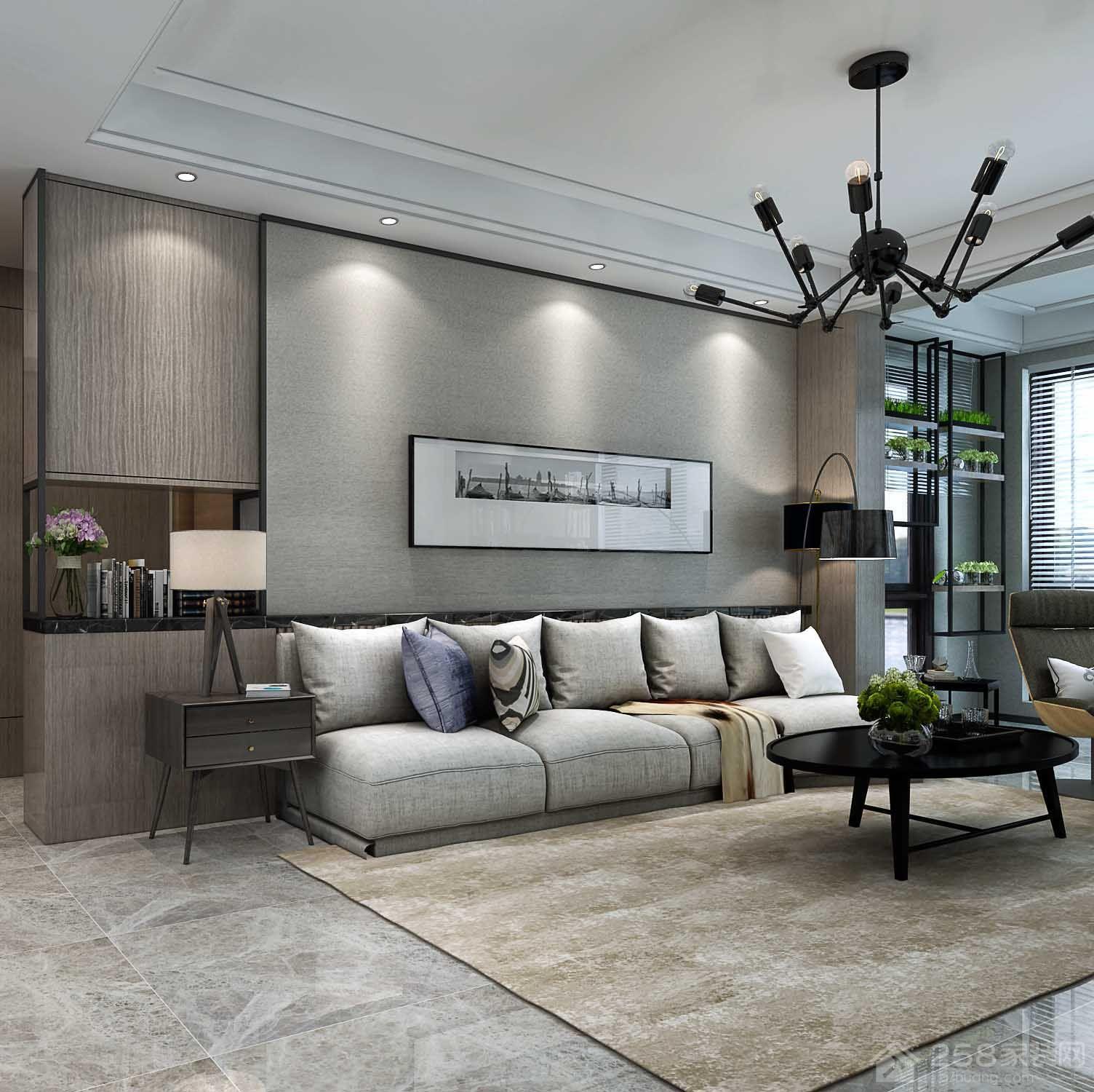 海伦国际3现代简约三居装修效果图