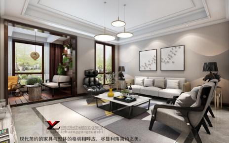 天鹅堡158㎡三居室雅致现代装修效果图