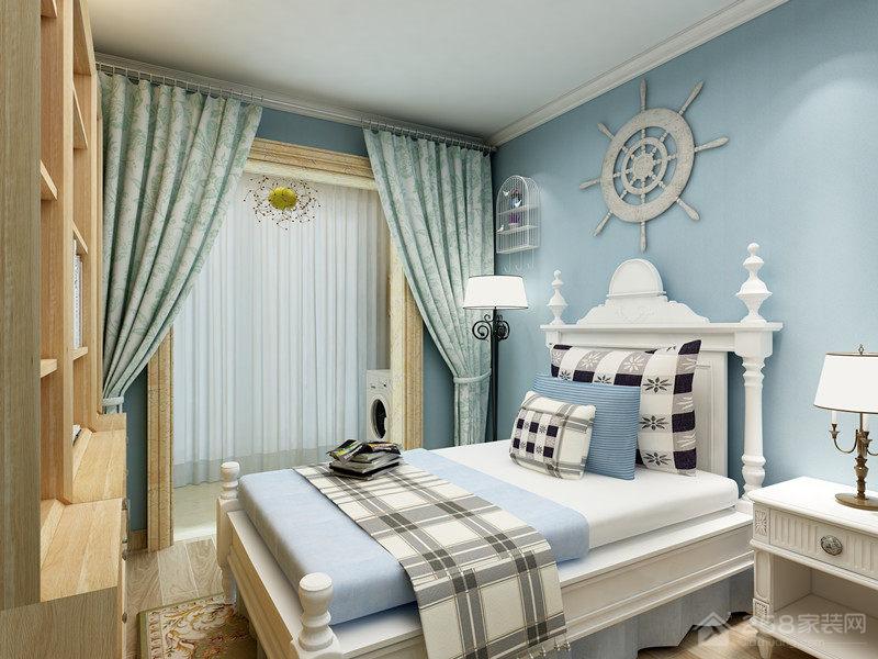 简洁自然蓝色系男孩儿童房设计效果图