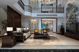 华润中心凯旋门 580平米复式中式家装效果图