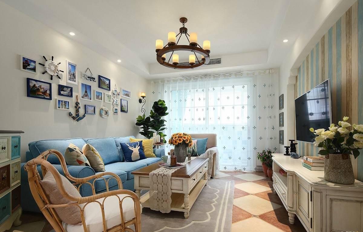 万宏国际两居室地中海家装效果图