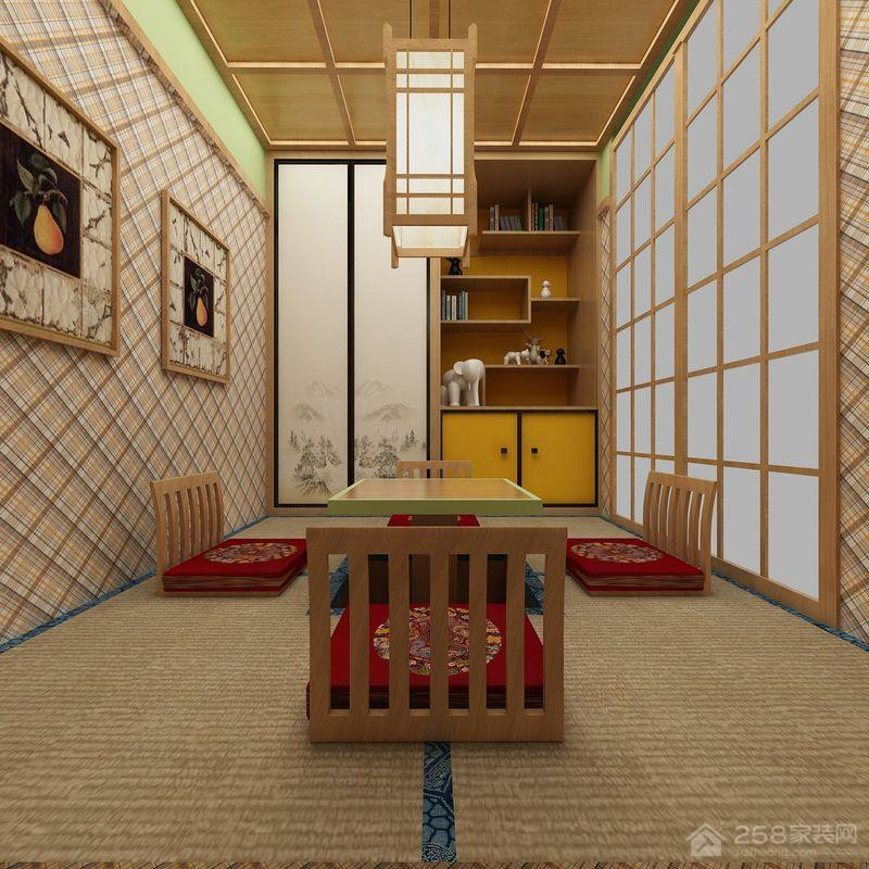 原木风情日式榻榻米升降茶几设计图