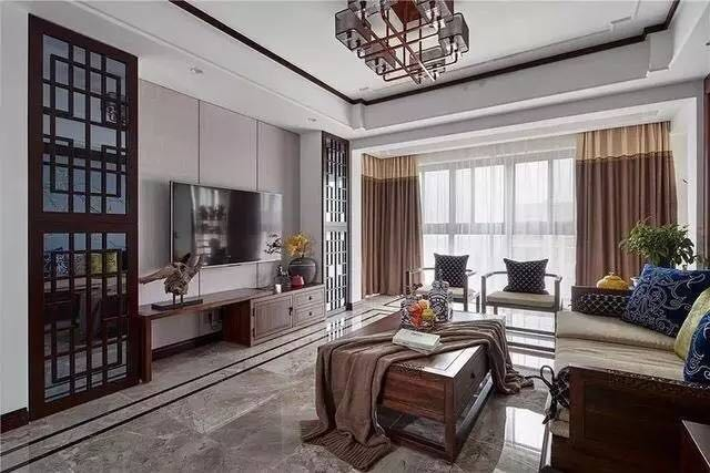 中建国熙台新中式风格三室家装效果图
