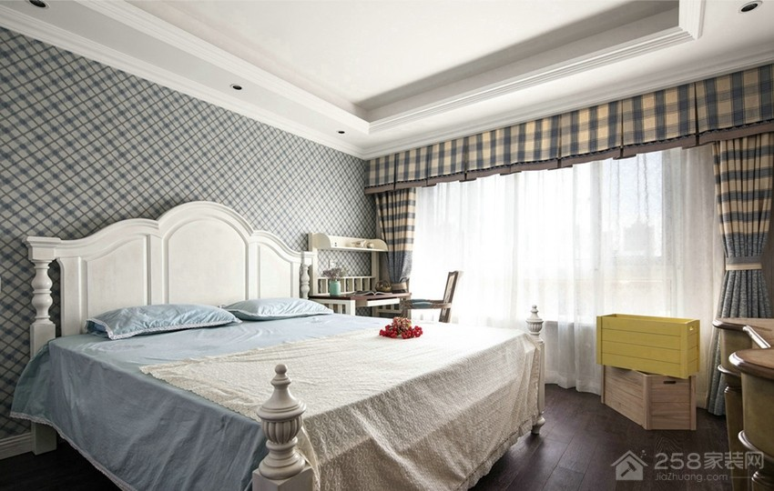 同馨花园140平美式风格三房家装效果图