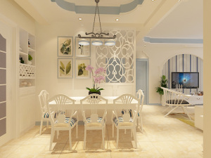 翡翠城三室两厅两卫欧式装修效果图