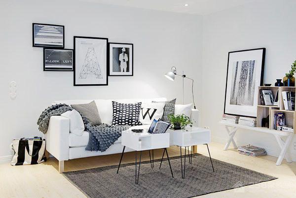 简约客厅纯白色艺术感沙发背景墙图