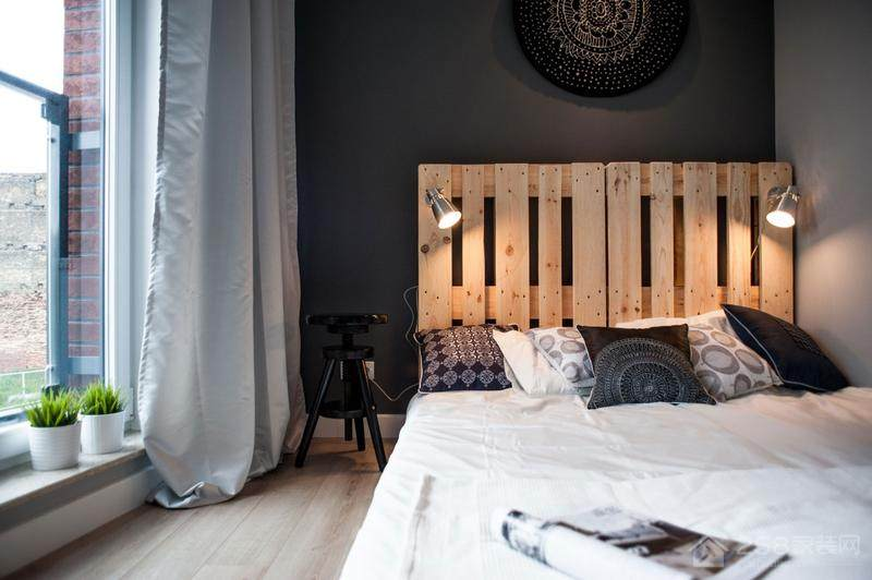 北欧风卧室黑色背景墙图片