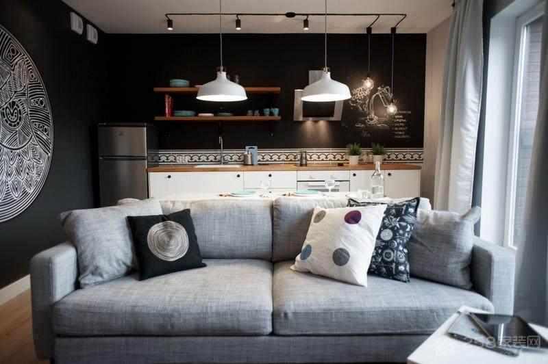 北欧风客厅灰色布艺沙发图片