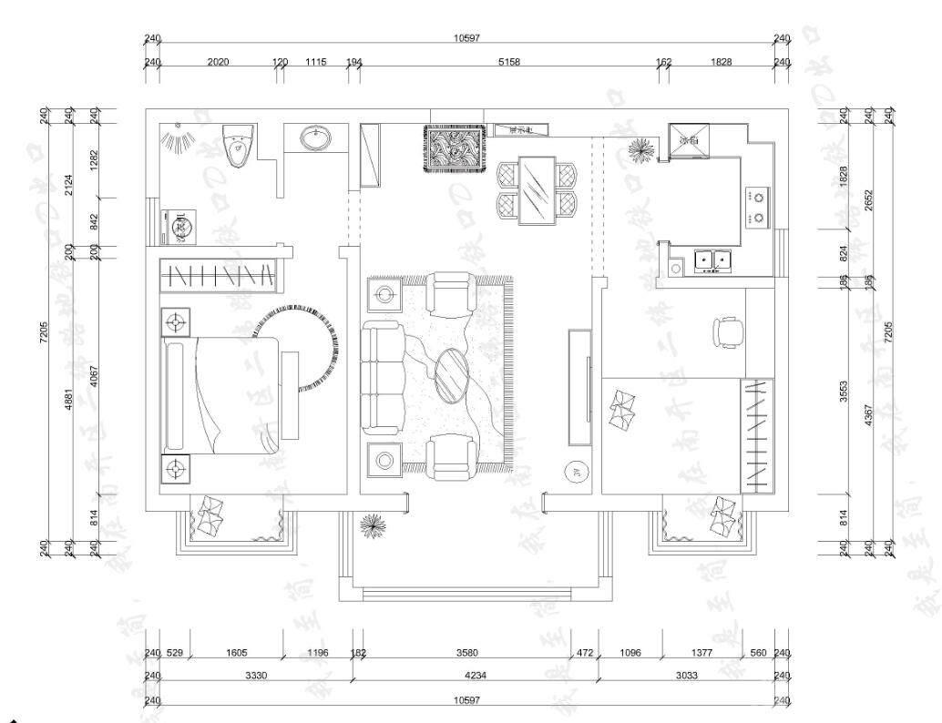 二居室现代简约装修效果图