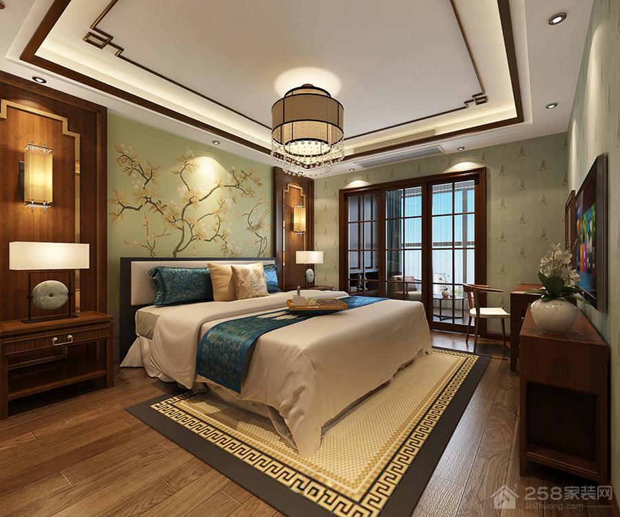 现代古典新中式卧室设计效果图
