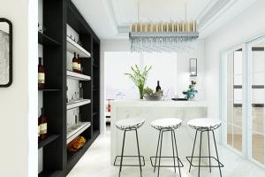 洁净时尚厨房精致铁艺吧台椅设计