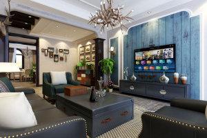 美式风格客厅电视墙效果图