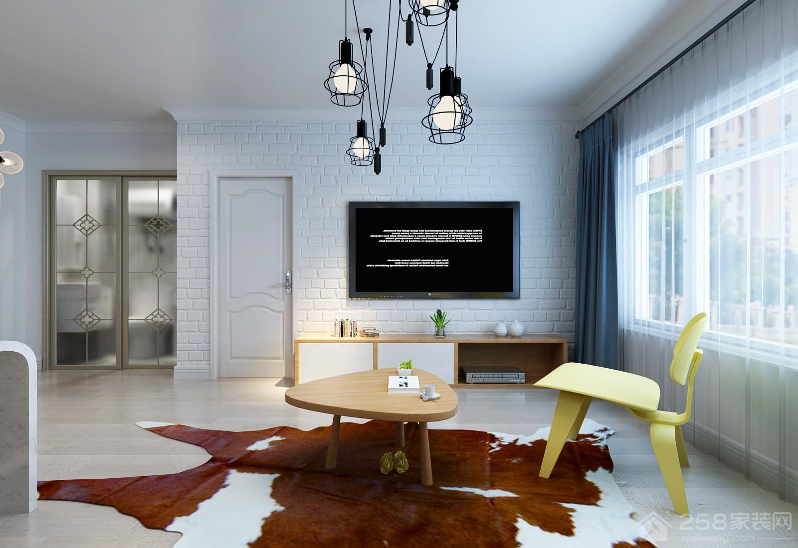 北欧风格客厅白色电视砖墙效果图