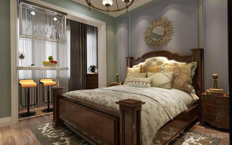 自然休闲美式卧室设计效果图