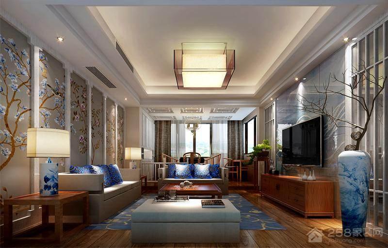 简约中式客厅吊顶装修效果图