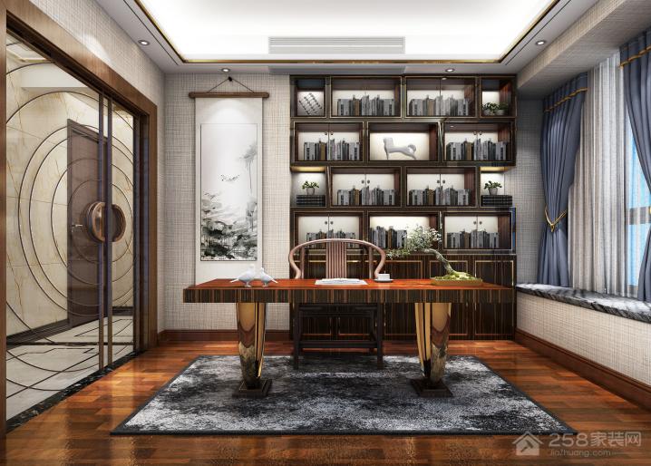 现代奢华新中式书房设计效果图欣赏