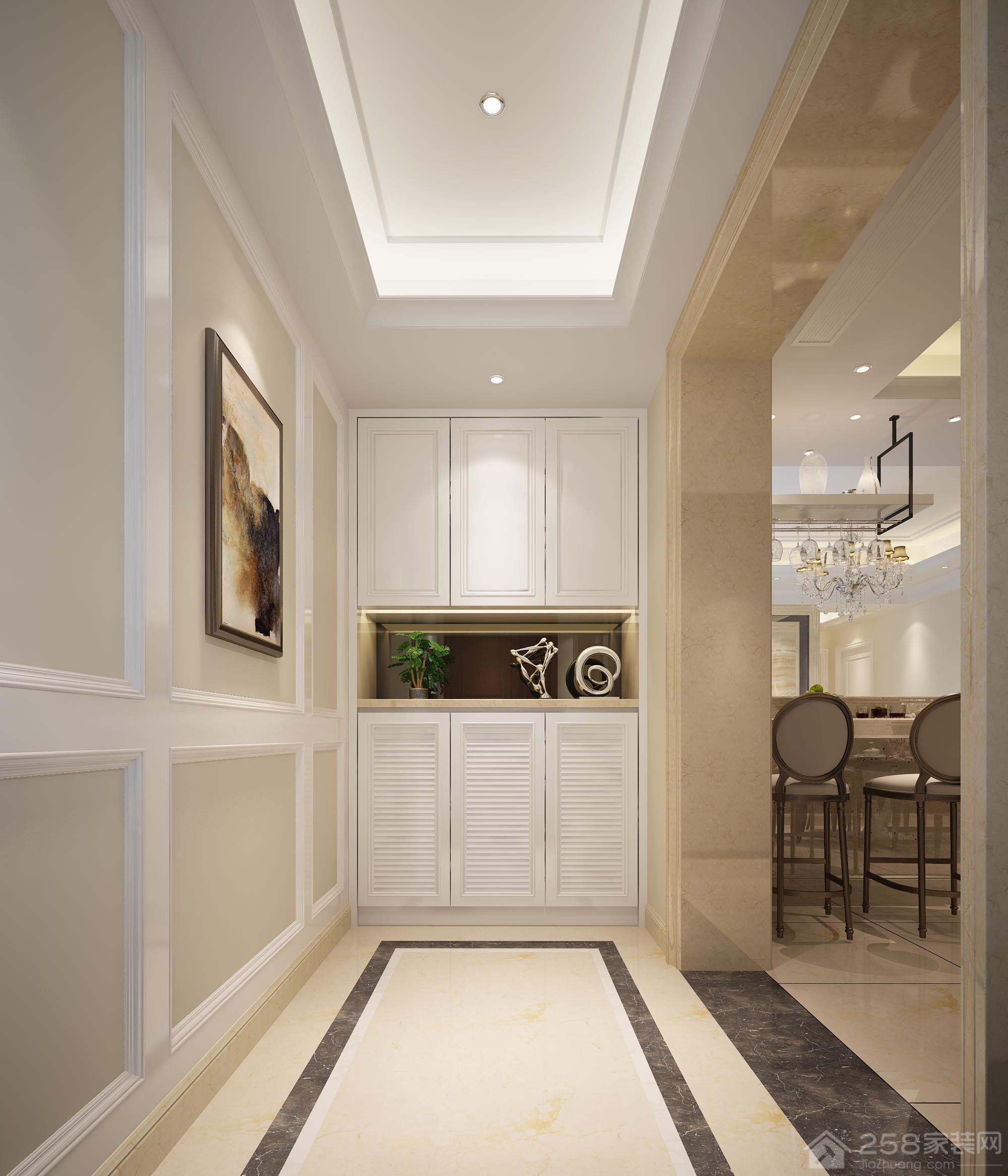 简约清新白色进门玄关鞋柜设计效果图