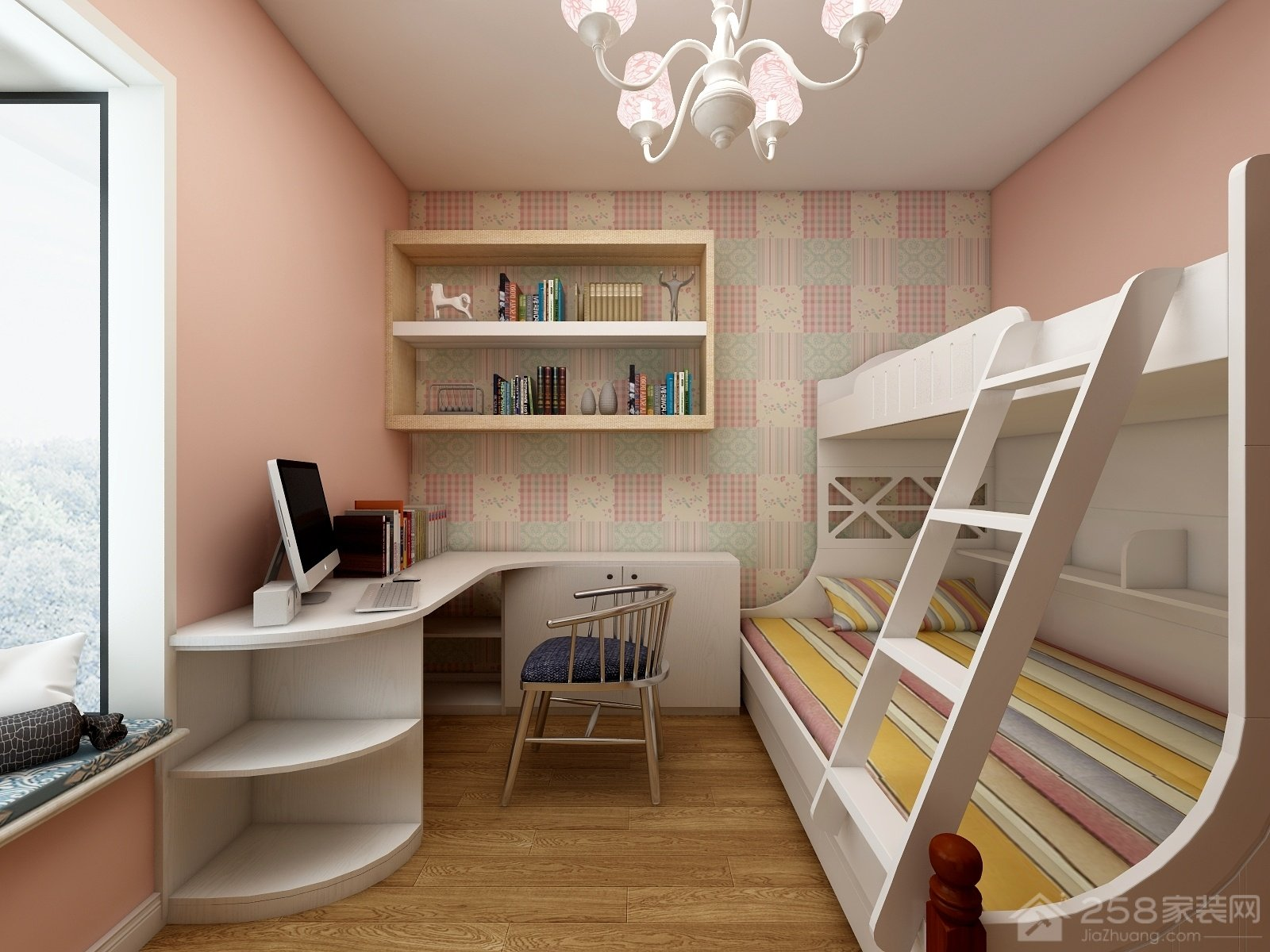 清新整洁现代儿童房高低床效果图
