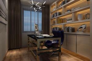 现代地中海风情书房整体书柜效果图