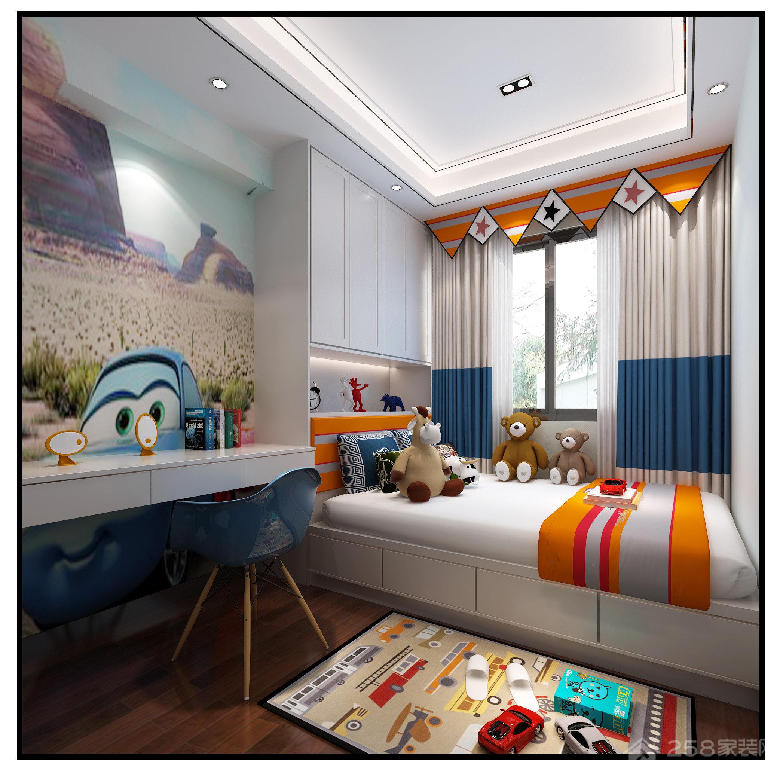 现代新中式儿童房实木书桌效果图