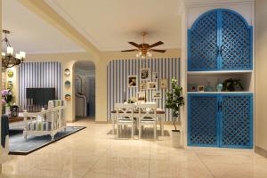 温馨地中海风格餐厅风扇吊灯效果图