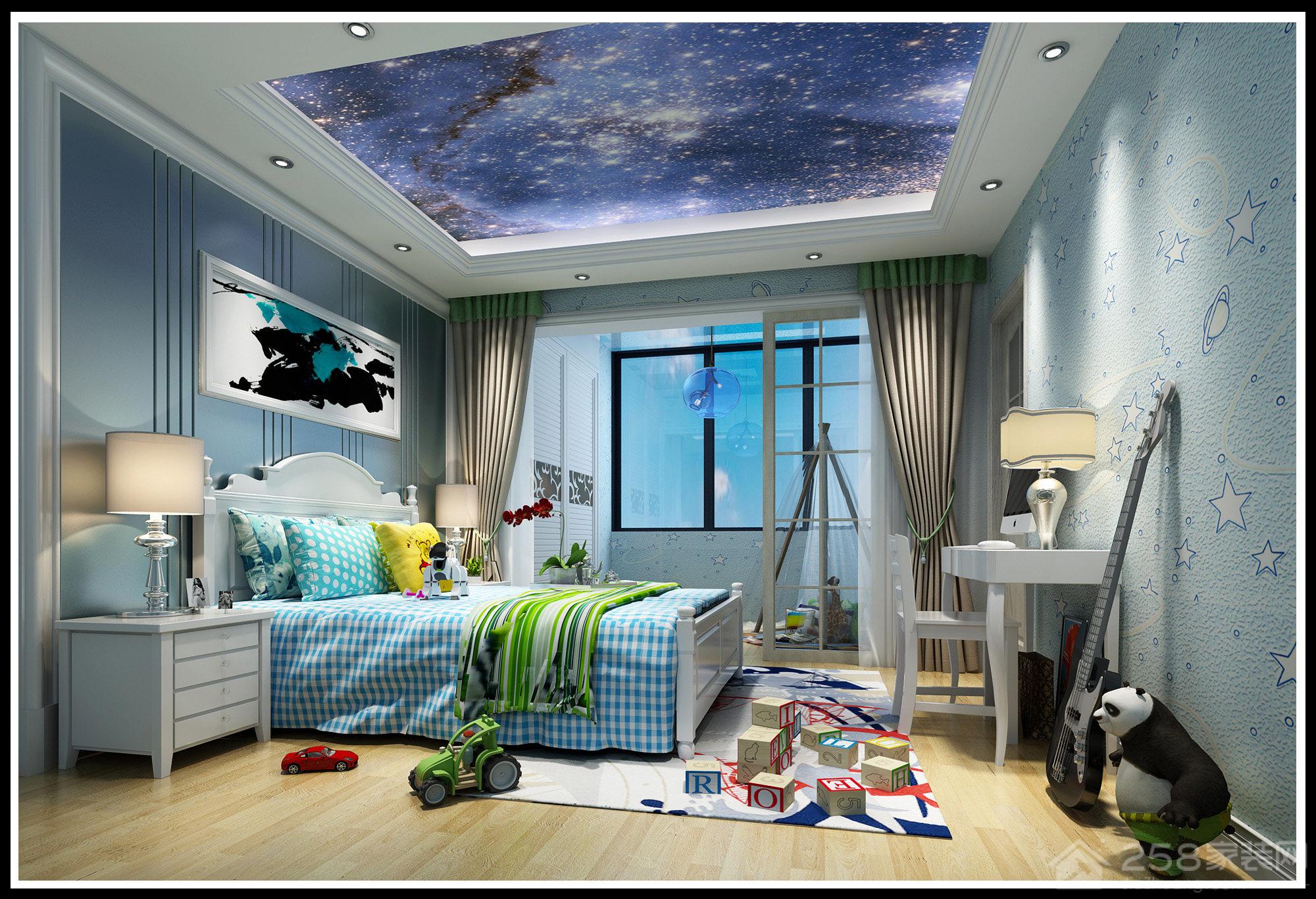 梦幻蓝色男孩儿童房设计效果图