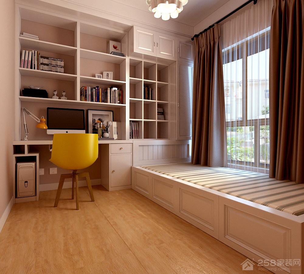 简单设计书房书桌书柜一体化设计图