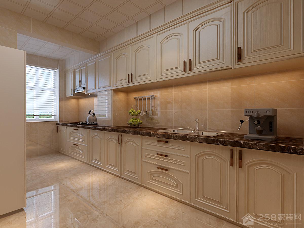 现代开放式厨房实木橱柜效果图
