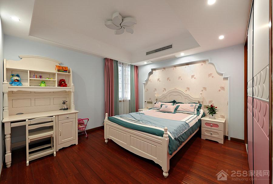 经典美式白色儿童实木床效果图